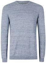 Topman Blue Twist Side Ribbed Sweater