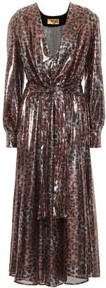 MSGM Sequined leopard midi dress