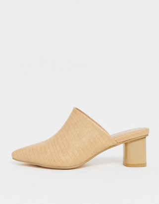 Co Wren pointed heeled mules in cream croc