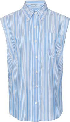 Prada Striped Silk-Poplin Top