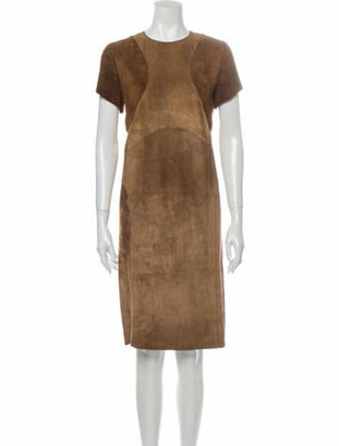 Marni Lamb Leather Knee-Length Dress Brown