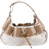 Burberry Leather-Trimmed Canvas Hobo