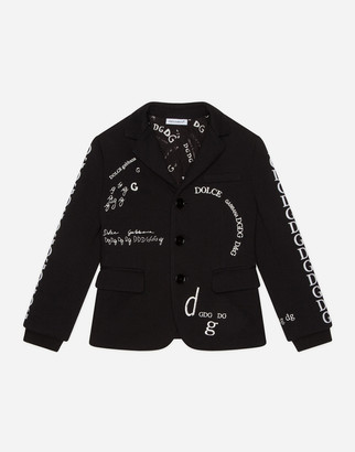 Dolce & Gabbana Single-Breasted Jersey Blazer With Patch And Logo Embroidery