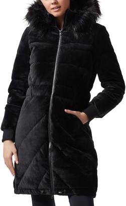 Blanc Noir Alexandra Velvet Puffer Jacket w/ Faux Fur