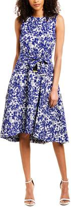 Donna Karan High-Low Jacquard Midi Dress
