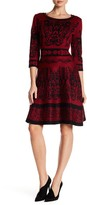 Taylor French Print Flare Sweater Dress