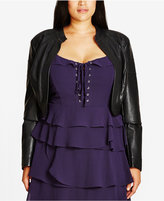 City Chic Plus Size Faux-Leather Bolero