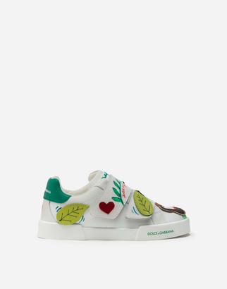 Dolce & Gabbana Portofino Light Sneakers In Nappa Leather With Jungle Print