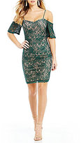 Sequin Hearts Cold Shoulder Two-Tone Lace Sheath Dress
