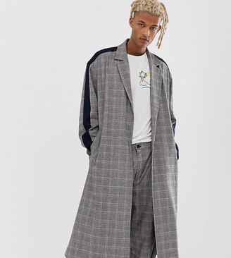 Asos Made In MADE IN KENYA check duster overcoat with side stripe-Grey