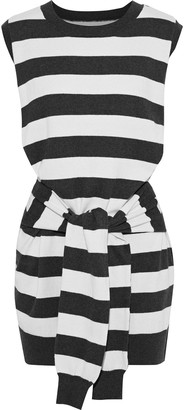 Current/Elliott The Suns Out Tie-front Striped Cotton And Cashmere-blend Mini Dress