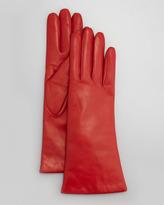 Portolano Four-Button Leather Gloves, Garnet Red