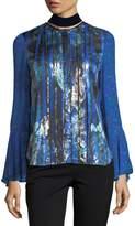 Elie Tahari Izarra Floral-Print Blouse w/ Velvet Back