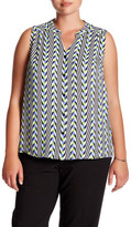 Nine West Graphic Geo Button Front Sleeveless Blouse (Plus Size)