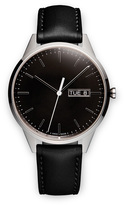 Uniform Wares C40 Men's day-date watch in polished steel with black nappa leather strap