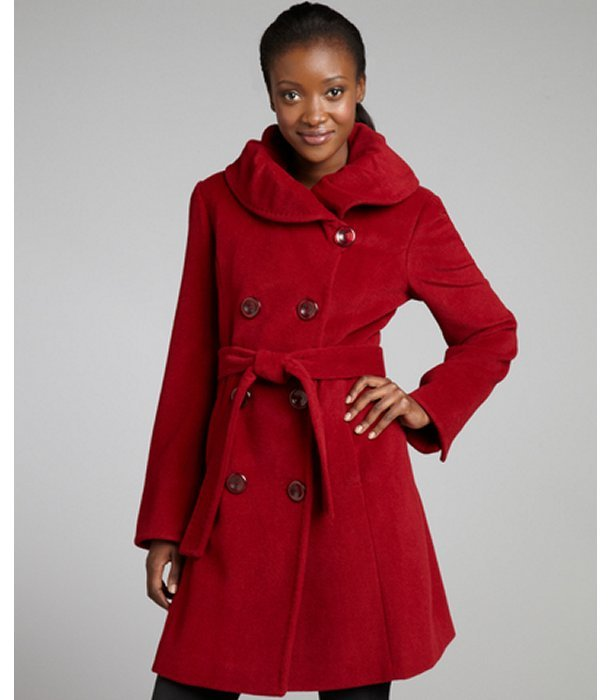 Ellen Tracy ruby wool-angora blend belted shawl collar coat