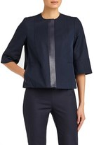 Lafayette 148 New York Women's Gabardine Tech Stretch Collarless Topper