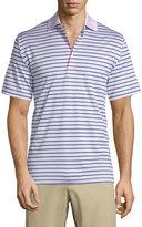 Peter Millar Charlie Striped Short-Sleeve Polo Shirt, Pink
