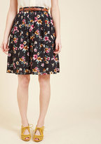 ModCloth Bookstore's Best A-Line Skirt in Noir Blossom in XXS