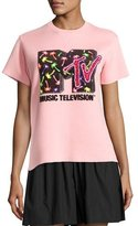 Marc Jacobs Sequined MTV Short-Sleeve Sweatshirt, Powder Pink