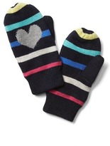 Gap Intarsia heart stripe mittens