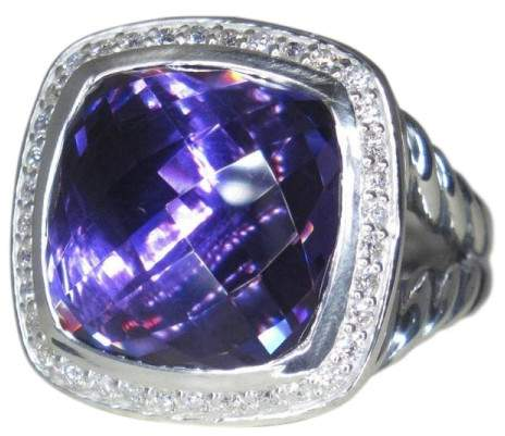 David Yurman Albion 925 Sterling Silver with Amethyst & .35ct Diamond Ring Size 7