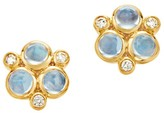 Temple St. Clair Classic Color Diamond, Blue Moonstoon & 18K Yellow Gold Trio Earrings