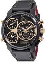 DETOMASO Casabona XXL Multifunctional Men's Wrist Watch with 3 time zones Gold Black Stainless Steel Leather