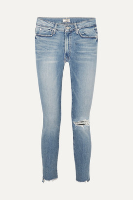 Mother The Stunner Distressed High-rise Stretch Skinny Jeans - Mid denim