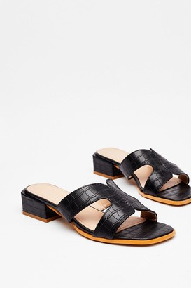 Nasty Gal Womens Cut 'Em Loose Faux Leather Croc Sandals - Black