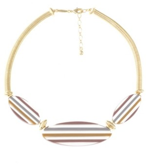 Trifari Gold-Tone Colored Resin Collar Necklace
