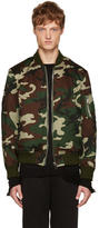 Christian Dada Green Camo Araki Patch Bomber Jacket