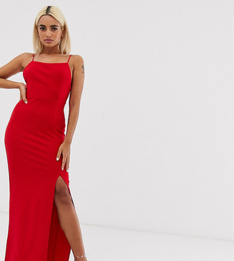 Club L London petite square neck midaxi dress in red