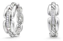 David Yurman Wellesley Sterling Silver Small Hoop Earrings with Diamonds