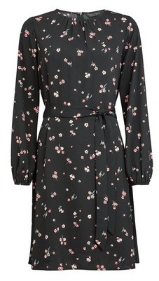 Dorothy Perkins Womens Black Floral Print Pleat Neck Fit And Flare Dress, Black