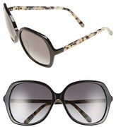 Kate Spade Women's 'Jonell' 58Mm Oversized Sunglasses - Black/ Havana