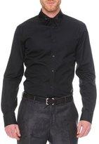 Alexander McQueen Poplin Shirt with Pieced Collar, Black