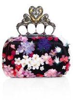 Alexander McQueen Heart Knuckle Short Floral-Embroidered Box Clutch