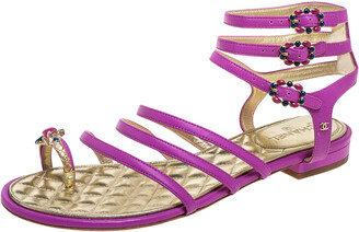 Chanel Purple Leather Embellished Toe Ring Gladiator Flat Sandals Size 38