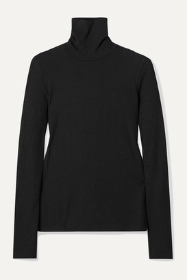 Madewell Garbanzo Ribbed Stretch-knit Turtleneck Top - Black