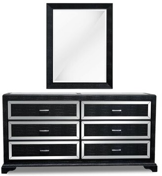 Latitude Run Lombardy 6 Drawer Bachelor's Chest with Mirror Color: Black