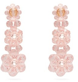 Simone Rocha Floral Beaded Drop Earrings - Womens - Pink