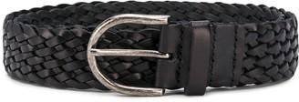 Saint Laurent Woven Horseshoe Buckle Belt
