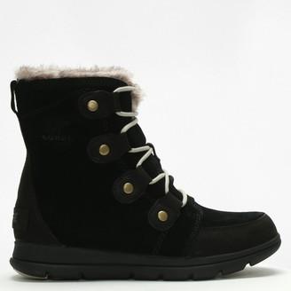 Sorel Explorer Joan Black & Dark Stone Leather & Suede Ankle Boots