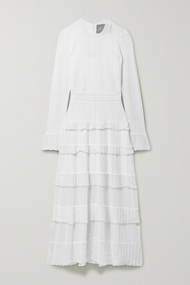 Lela Rose Ruffled Pointelle-trimmed Knitted Midi Dress - Ivory