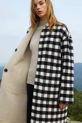Mansur Gavriel Reversible Bicolor Wool Stand Collar Coat - Beige/Checker