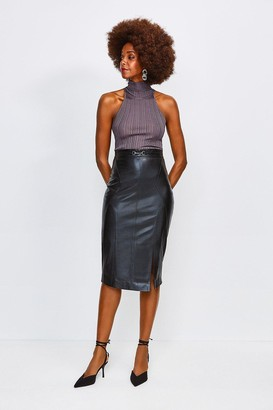 Karen Millen Leather Snaffle Trim Pencil Skirt