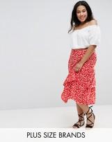 Influence Plus Floral Layered Midi Skirt