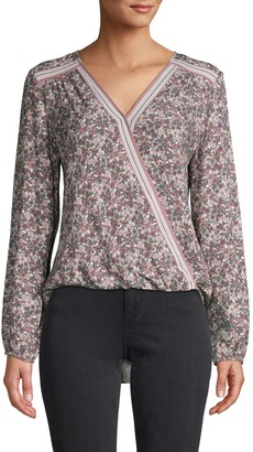 Max Studio Floral-Print Wrap Top