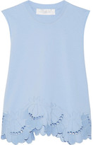Victoria, Victoria Beckham - Delft Embroidered Stretch-cotton Top - Sky blue